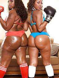 Hot ebony girls in heels and boxing..